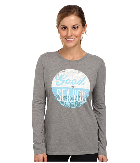 Life is good - Winter Beach Cool L/S Tee (Winter Gray) Women's Long Sleeve Pullover