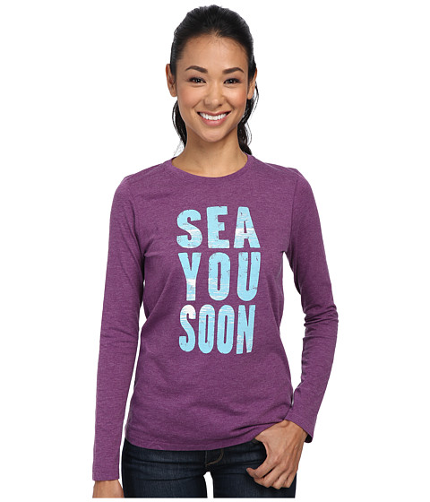 Life is good - Winter Beach Cool L/S Tee (Perfect Plum) Women's Long Sleeve Pullover