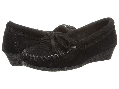 Minnetonka - Kilty Wedge (Black Suede) Women's Shoes