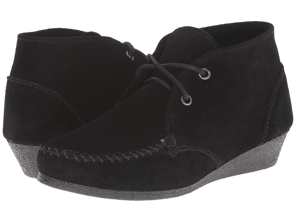 Minnetonka - Chukka Wedge Bootie (Black Suede) Women's Shoes