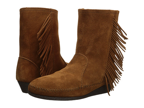 Minnetonka - Side Fringe Wedge Boot (Brown Suede) Women's Boots