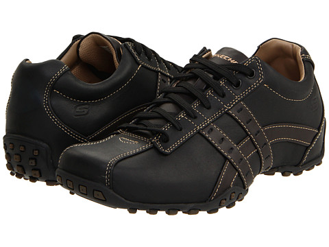 SKECHERS - Midnight (Black Smooth Leather) Men's Lace up casual Shoes
