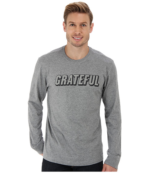 Life is good - Bread Butter Crusher L/S Tee (Grateful Text/Heather Gray) Men's T Shirt