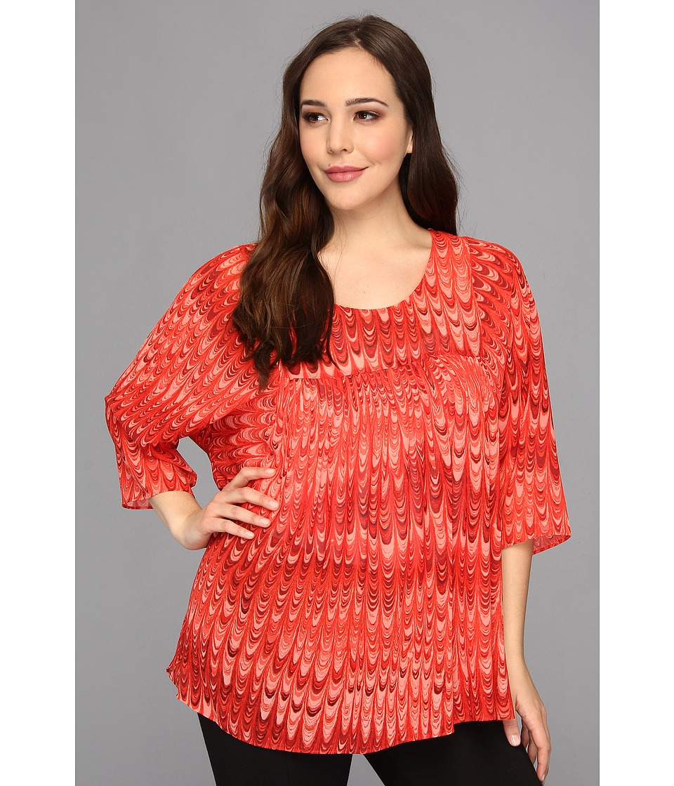 MICHAEL Michael Kors - Plus Size Marble Printed Flowy Top (Hot Coral) Women's Long Sleeve Pullover