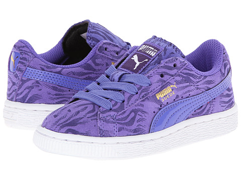 Puma Kids - Suede Animal Jr (Little Kid/Big Kid) (Blue Iris/Parachute Purple/Gold Foil) Girls Shoes