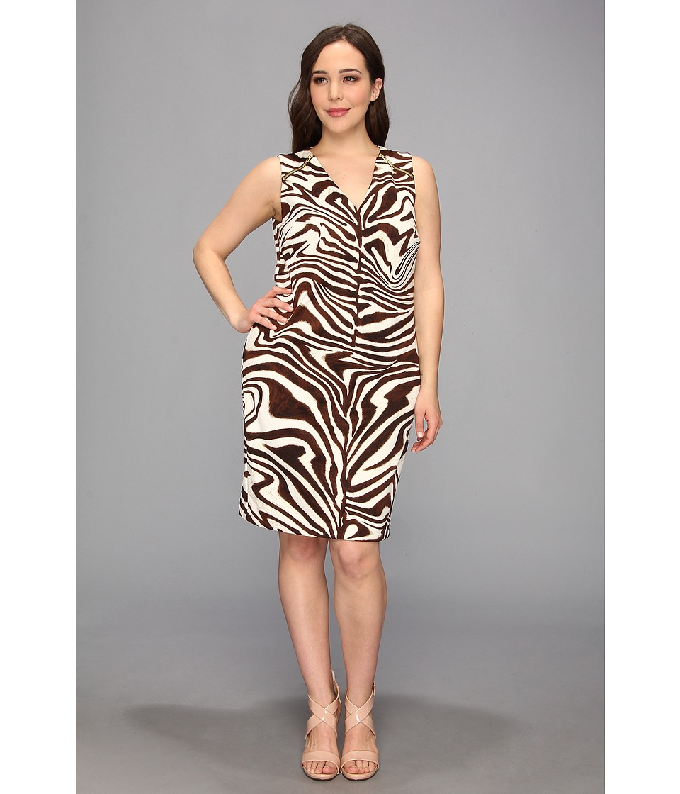 MICHAEL Michael Kors - Plus Size Sleeveless Marbled Zebra Print Raglan Zip Dress (Chocolate) Women