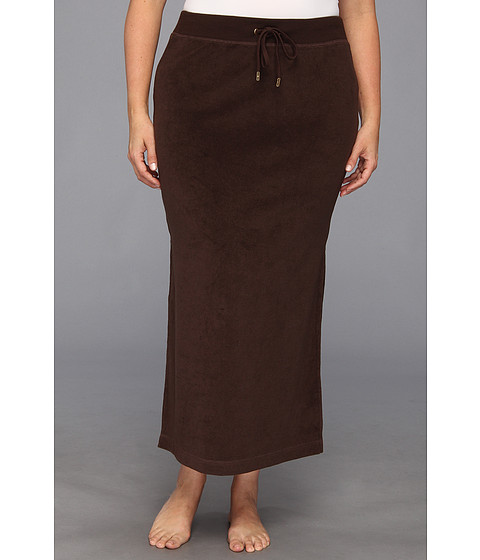 MICHAEL Michael Kors - Plus Size Terry Cloth Maxi Skirt w/ Side Slits (Chocolate) Women