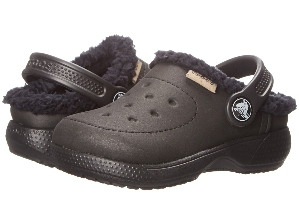 Crocs Kids - Wrap Colorlite Lines Clog (Toddler/Little Kid) (Black/Black) Kids Shoes