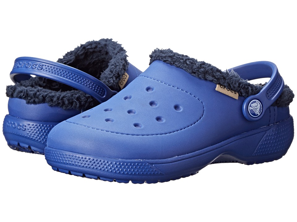 Crocs Kids - Wrap Colorlite Lines Clog (Toddler/Little Kid) (Cerulean Blue/Navy) Kids Shoes