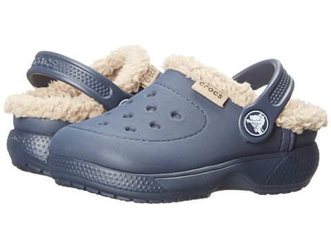 Crocs Kids - Wrap Colorlite Lines Clog (Toddler/Little Kid) (Navy/Tumbleweed) Kids Shoes