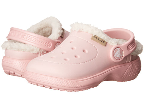 Crocs Kids - Wrap Colorlite Lines Clog (Toddler/Little Kid) (Pearl Pink/Oatmeal) Girls Shoes