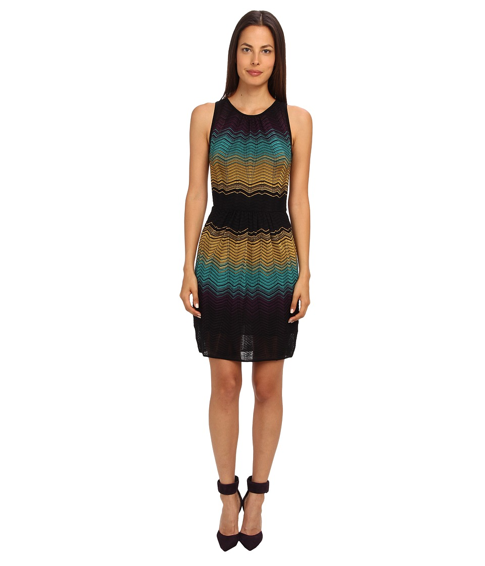M Missoni - Color Block Ripple Knit Dress (Black) Women's Dress