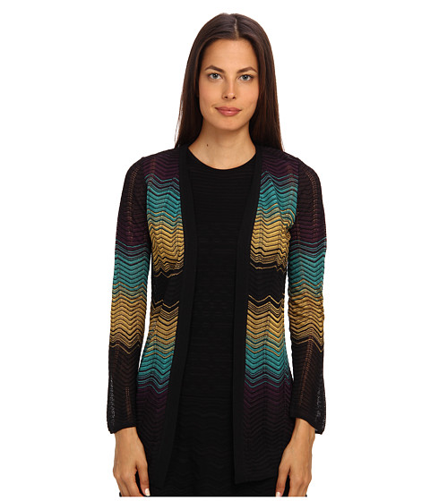 M Missoni - Color Bock Ripple Knit Cardigan (Black) Women