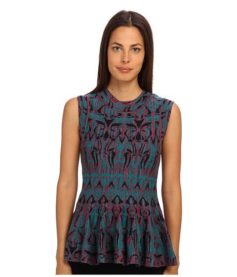 M Missoni - Art Deco Fleur De Lis Jacquard Top (Teal) Women's Short Sleeve Pullover