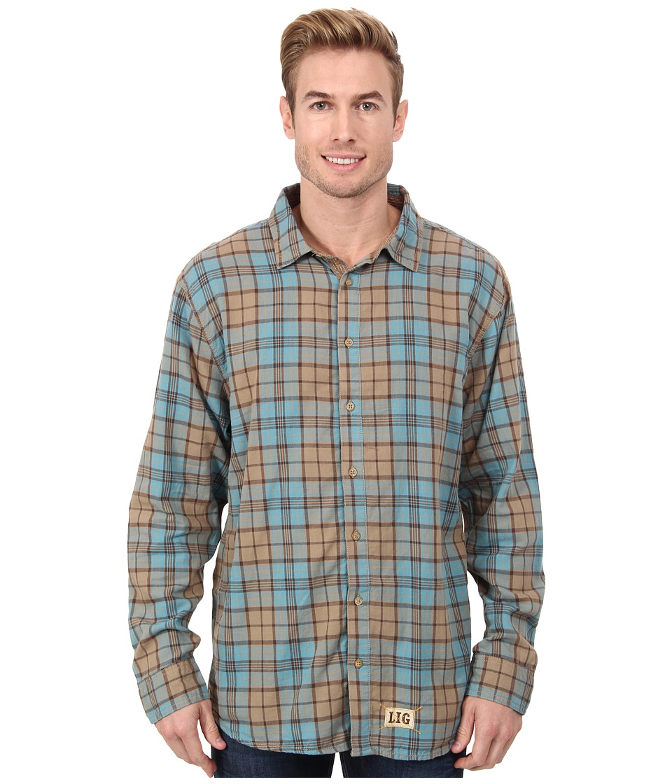 Life is good - Outdoor Four Season Button Up (Turquoise Blue Plaid) Men's Long Sleeve Button Up