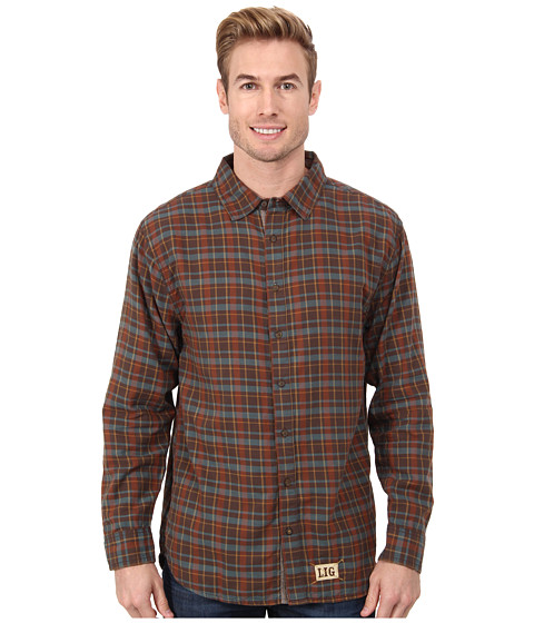 Life is good - Outdoor Four Season Button Up (Oak Brown Plaid) Men's Long Sleeve Button Up