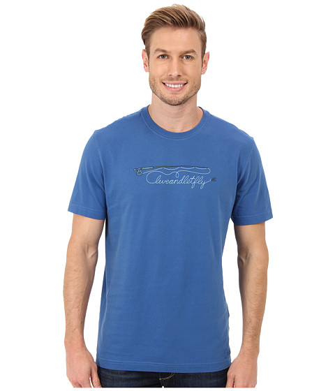 Life is good - Outdoor Crusher Tee (Fly Rod Script/Sapphire Blue) Men