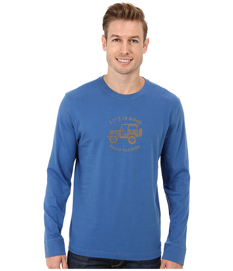 Life is good - Outdoor Crusher Long Sleeve (Stamped Off Road Winter/Sapphire Blue) Men