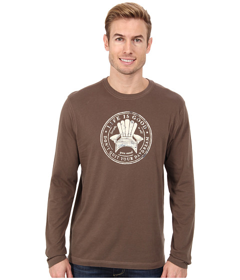 Life is good - Home Slice Creamy L/S Tee (Boot Brown) Men's T Shirt