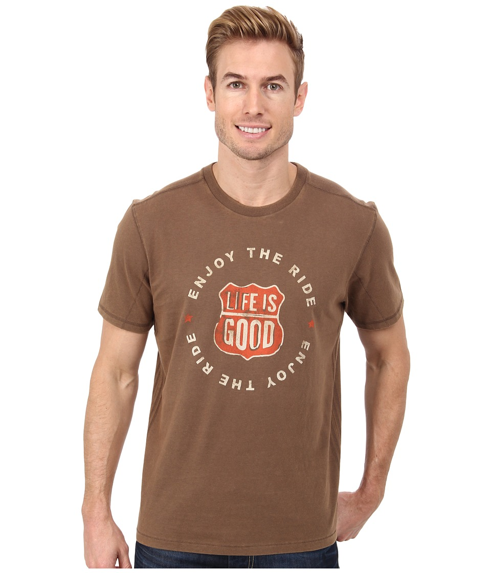 Life is good - Home Slice Top Notch Tee (Boot Brown) Men's Short Sleeve Pullover