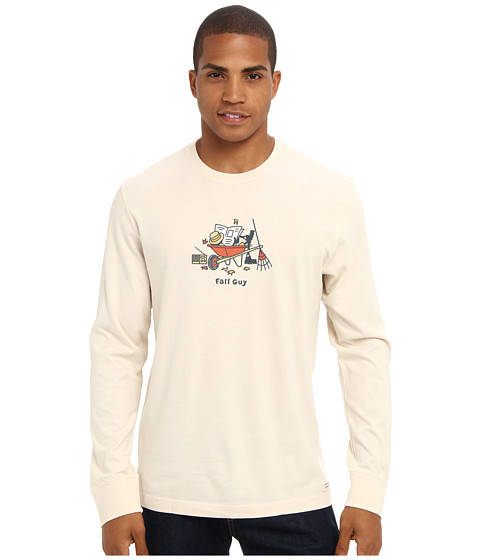 Life is good - Home Slice Crusher Long Sleeve (Fall Guy Lounge/Putty White) Men