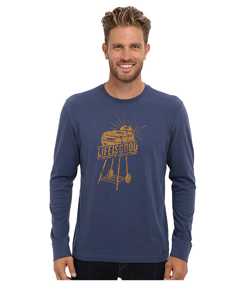 Life is good - Home Slice Crusher Long Sleeve (Vintage Grill/Darkest Blue) Men's Long Sleeve Pullover
