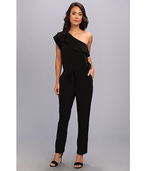 Kenneth Cole New York - Crepe One-Shoulder Jumpsuit (Black) Women's Jumpsuit & Rompers One Piece