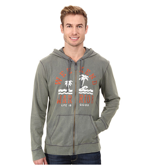 Life is good - Sueded Jersey Hoodie (Stormy Gray) Men
