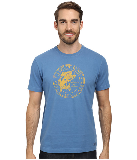 Life is good - Outdoor Crusher Tee (Fish Catch/Extra Blue) Men's T Shirt