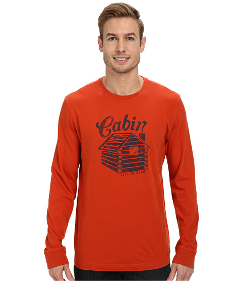 Life is good - Home Slice Crusher Long Sleeve (Vintage Cabin Fever/Fiery Orange) Men