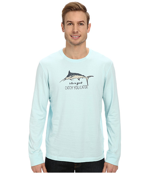 Life is good - Winter Beach Crusher L/S (Catch You Later Marlin/Soft Blue) Men's T Shirt