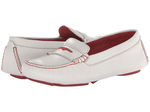 Johnston & Murphy - Claire Terry Drive (White Leather/Red Terry) Women's Shoes
