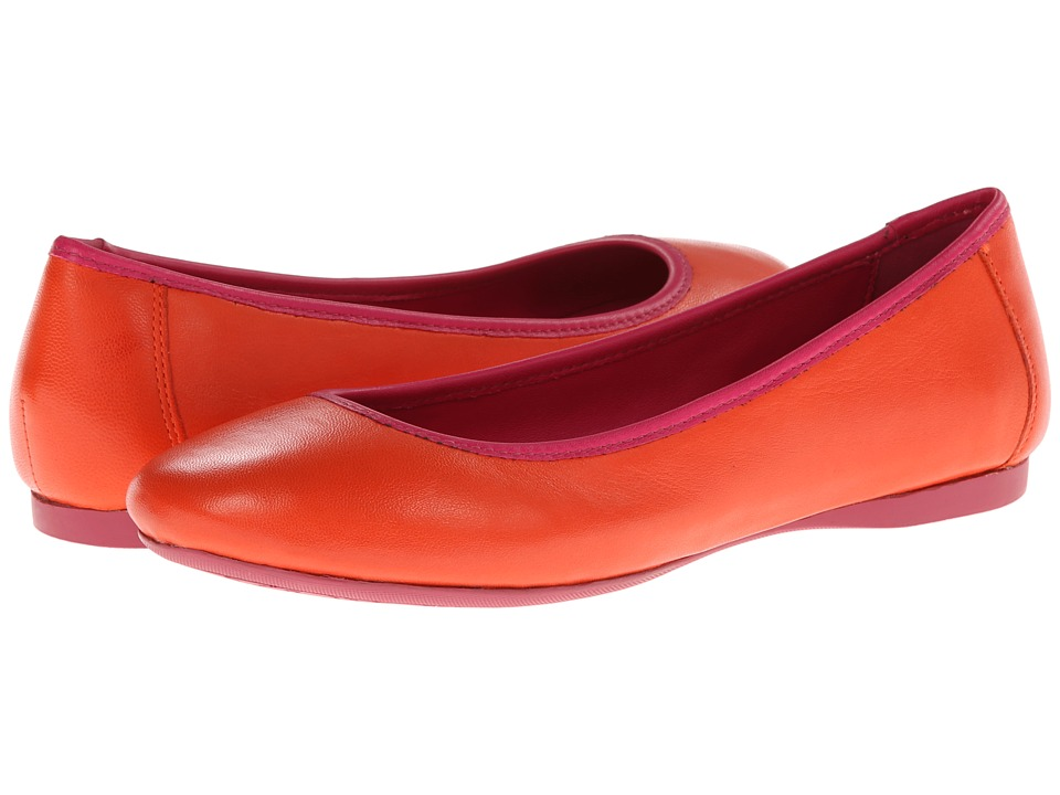 Johnston & Murphy - Marcie Ballet (Firebird Orange/Pink Leather) Women's Slip on Shoes
