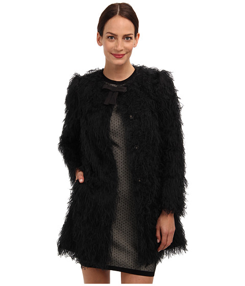 RED VALENTINO - Fuzzy Faille Coat (Black) Women's Coat