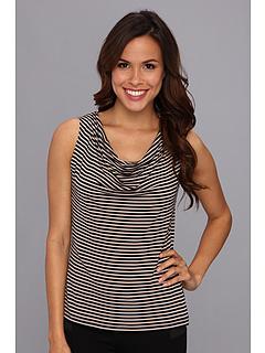 SALE! $17.99 - Save $21 on Calvin Klein Striped Drake Neck Cami (Khaki Black) Apparel - 53.87% OFF $39.00