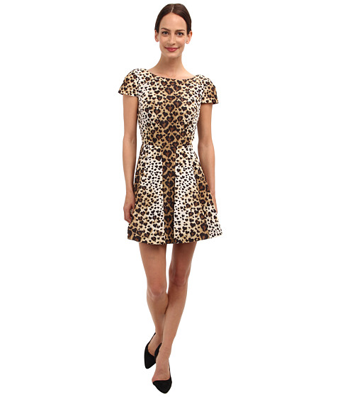 RED VALENTINO - Leopard Print Cap Sleeve Taffeta Dress (Toffee) Women's Dress