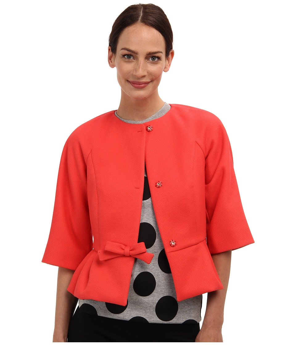 RED VALENTINO - Scuba Piquet Peplum Coat (Coral) Women