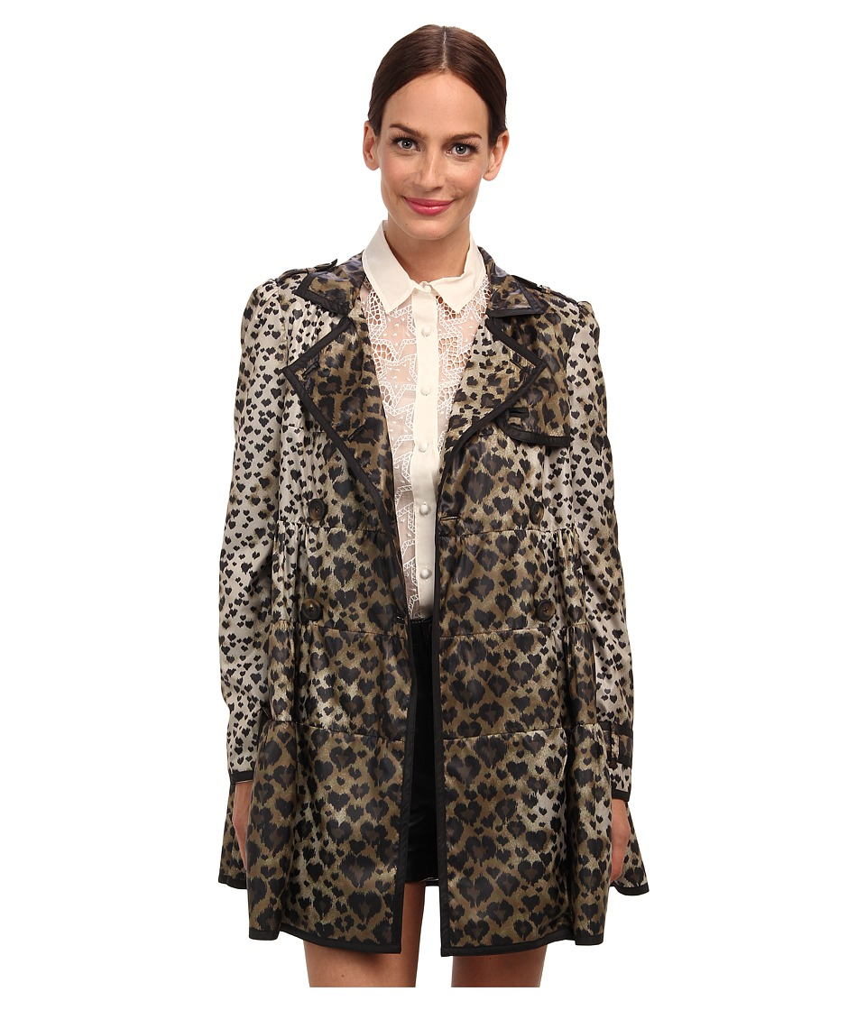 RED VALENTINO - Leopard Print Nylon Raincoat (Toffee) Women's Coat