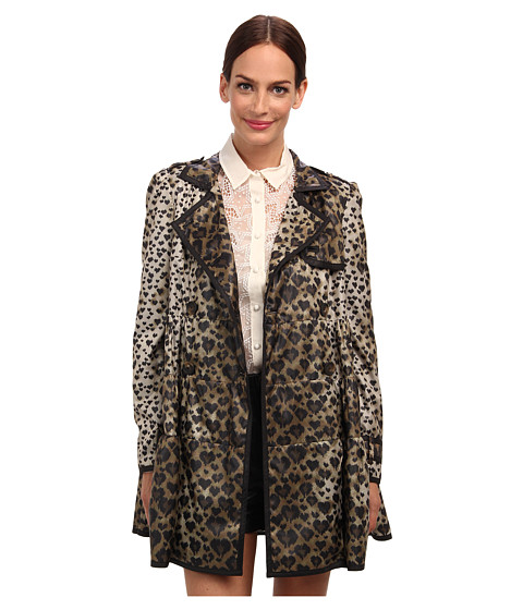 RED VALENTINO - Leopard Print Nylon Raincoat (Toffee) Women