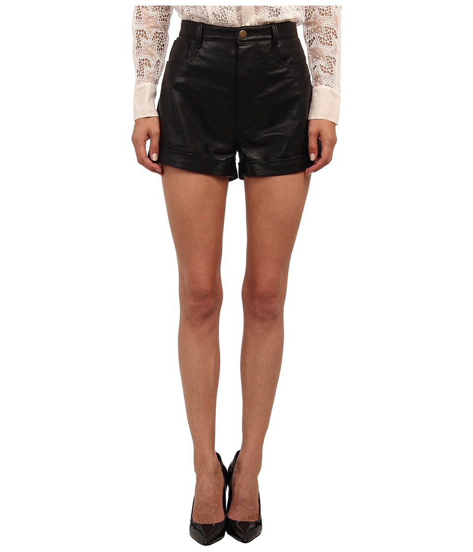 RED VALENTINO - Vintage Effect Leather Shorts (Black) Women's Shorts