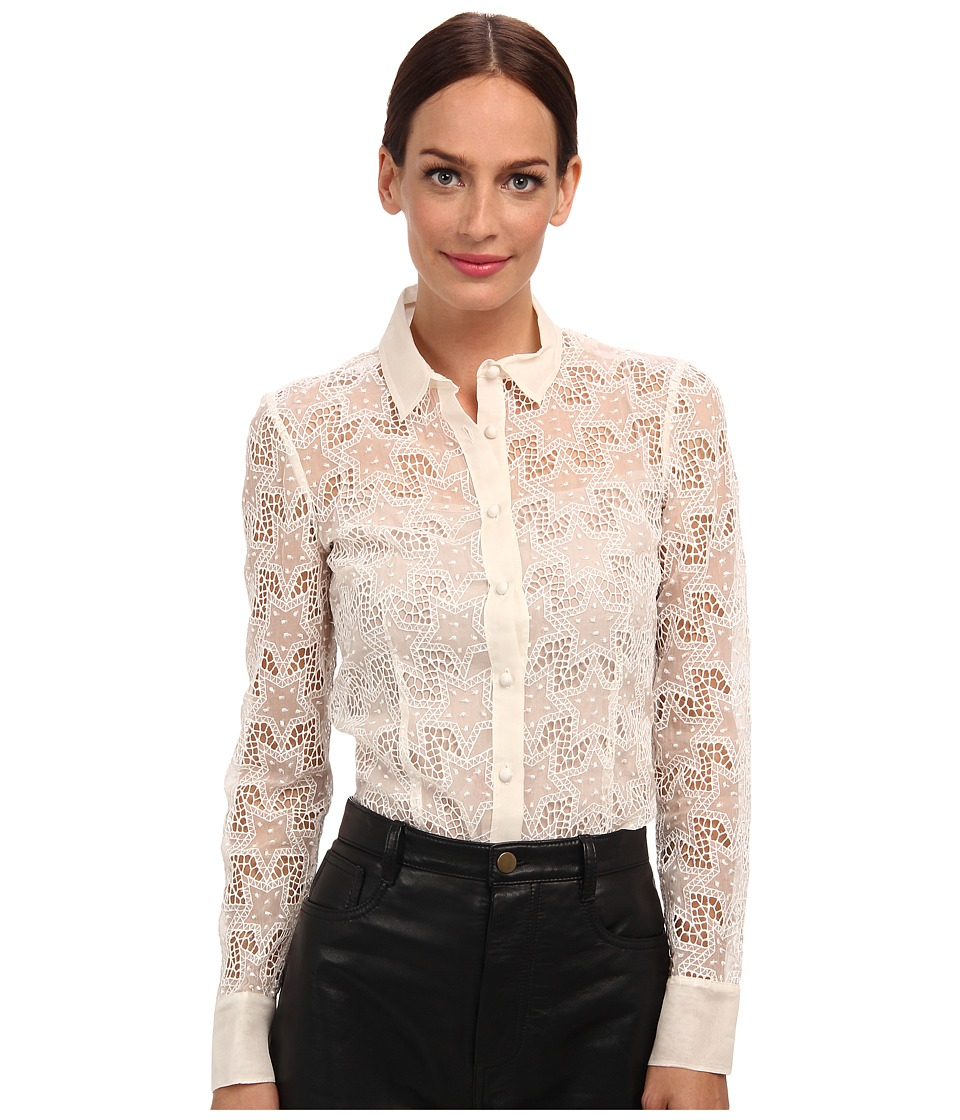 RED VALENTINO - Silk Organza Embroidered Star Blouse (White Smoke) Women's Blouse