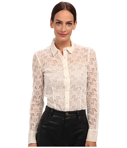 RED VALENTINO - Silk Organza Embroidered Star Blouse (White Smoke) Women