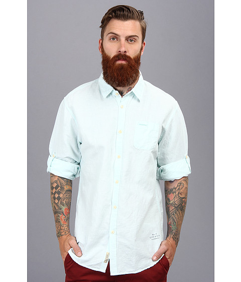 Scotch & Soda - Linen Longsleeve Shirt with Roll-Up Sleeves (Peppermint) Men's Long Sleeve Button Up