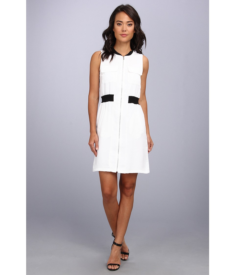 Calvin Klein - Zip Front Dress w/ Pocket (White) Women's Clothing