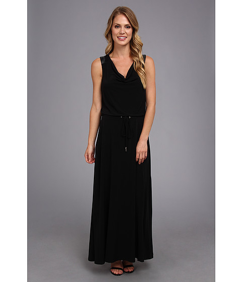 Calvin Klein - Maxi Dress w/ PU Trim (Black) Women