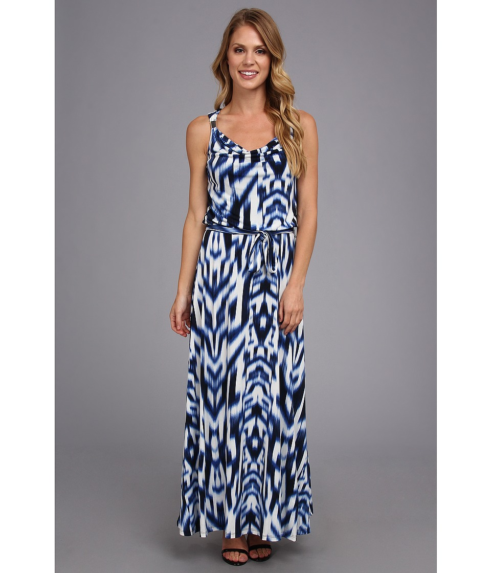 Calvin Klein Print Maxi Dress w/ Hrd (Regatta/White) Women