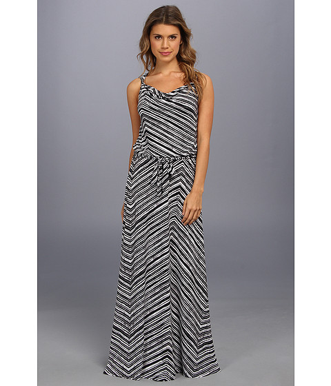 Calvin Klein - Print Maxi Dress w/ Hrd (Black/White Stripe) Women