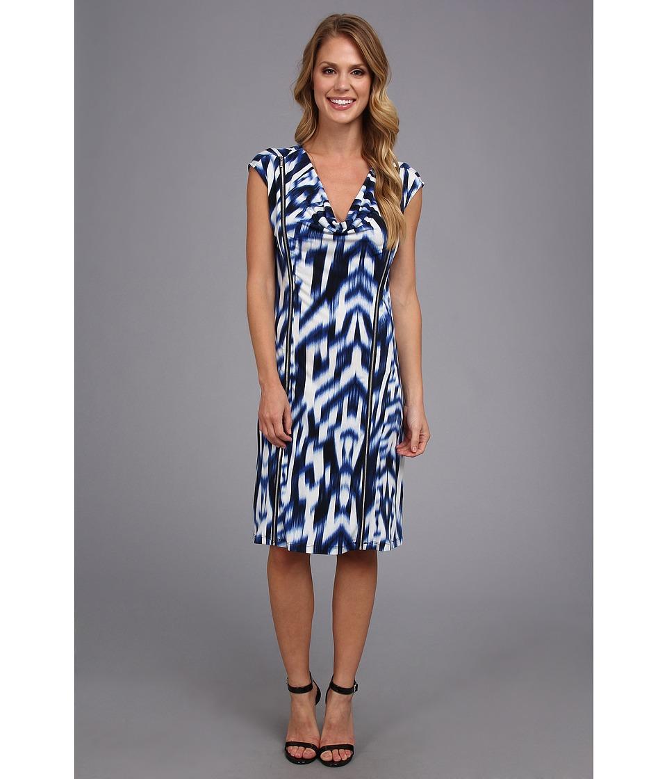 Calvin Klein - Printed Cowl Dress w/ Zips (Regatta/White) Women