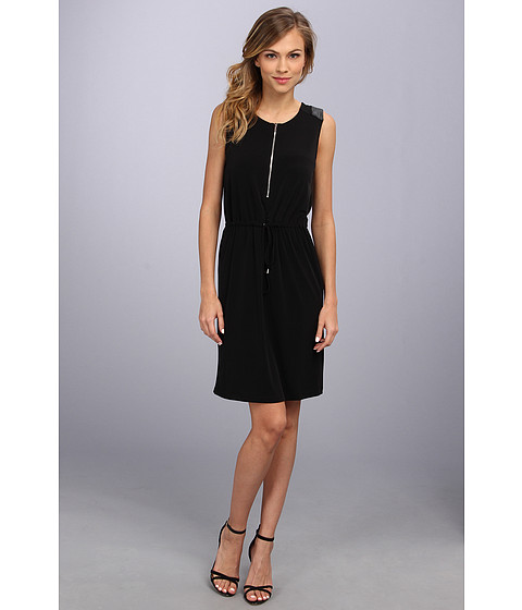 Calvin Klein - Sld Dress w/ PU Trim (Black) Women's Dress