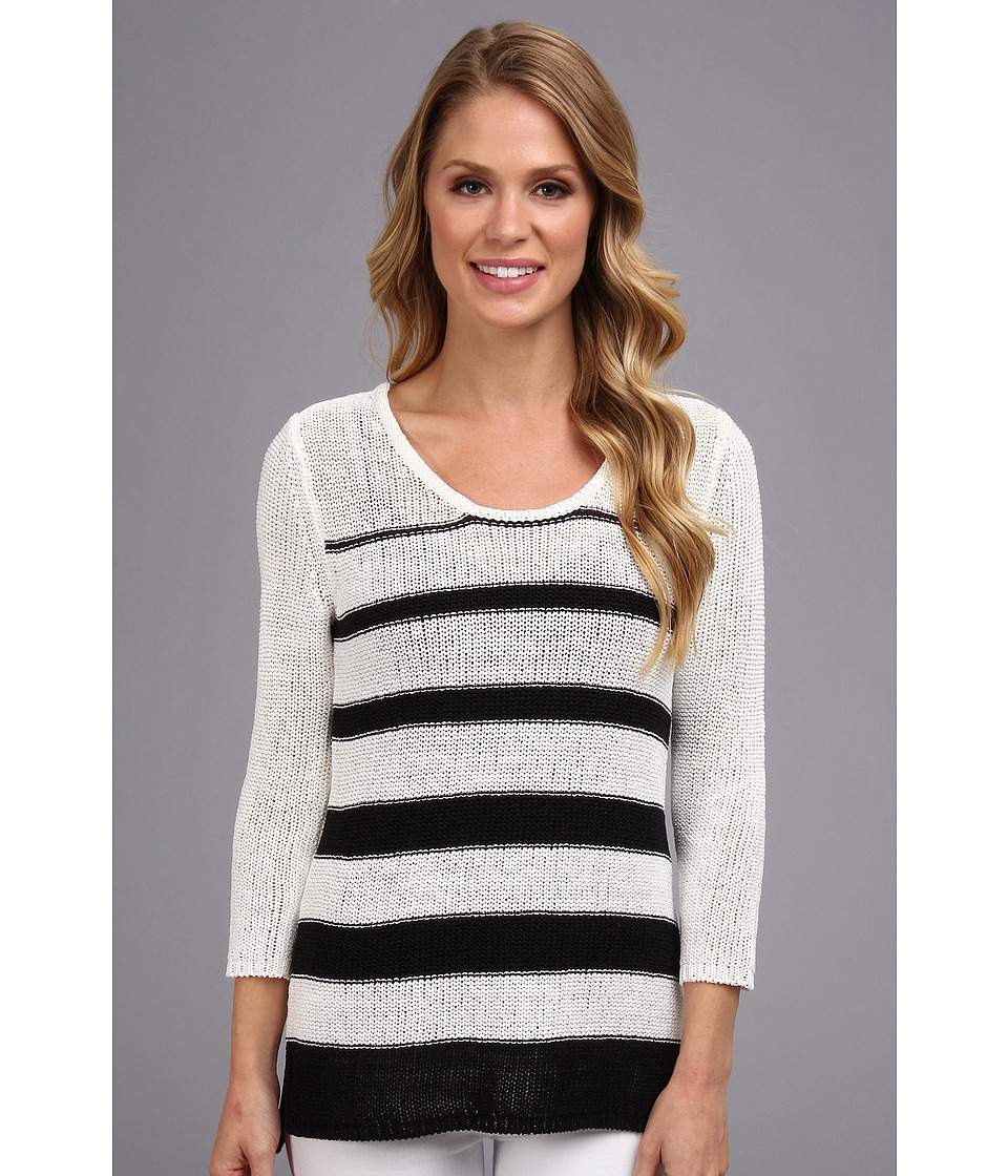 Calvin Klein - Striped Open Stitch Sweater (White/Black/Black) Women's Sweater